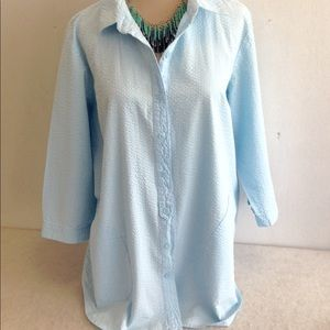Crinkle Cotton Tunic with Front Pockets
